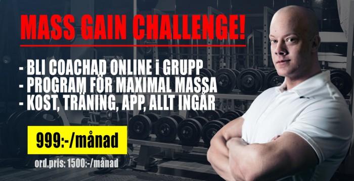 mass gain challenge röd banner