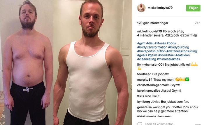 Mikael Lindqvist, 4 månader senare, -12 kg lättare och -22 cm smalare